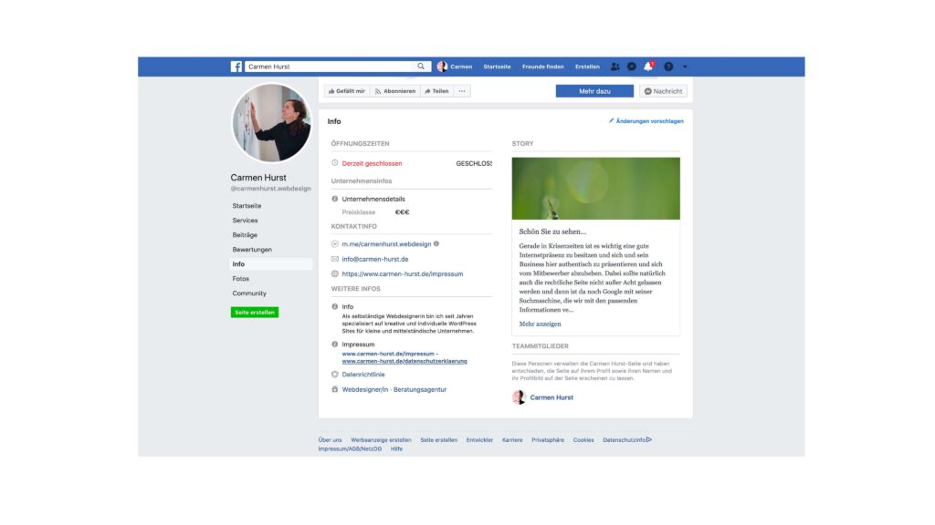 Facebookseite altes Design Impressum
